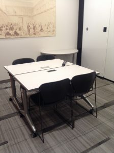 square table in meeting room