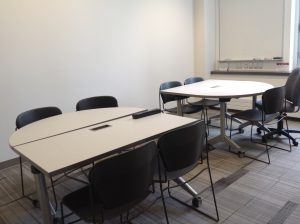 two table groupings in a meeting room