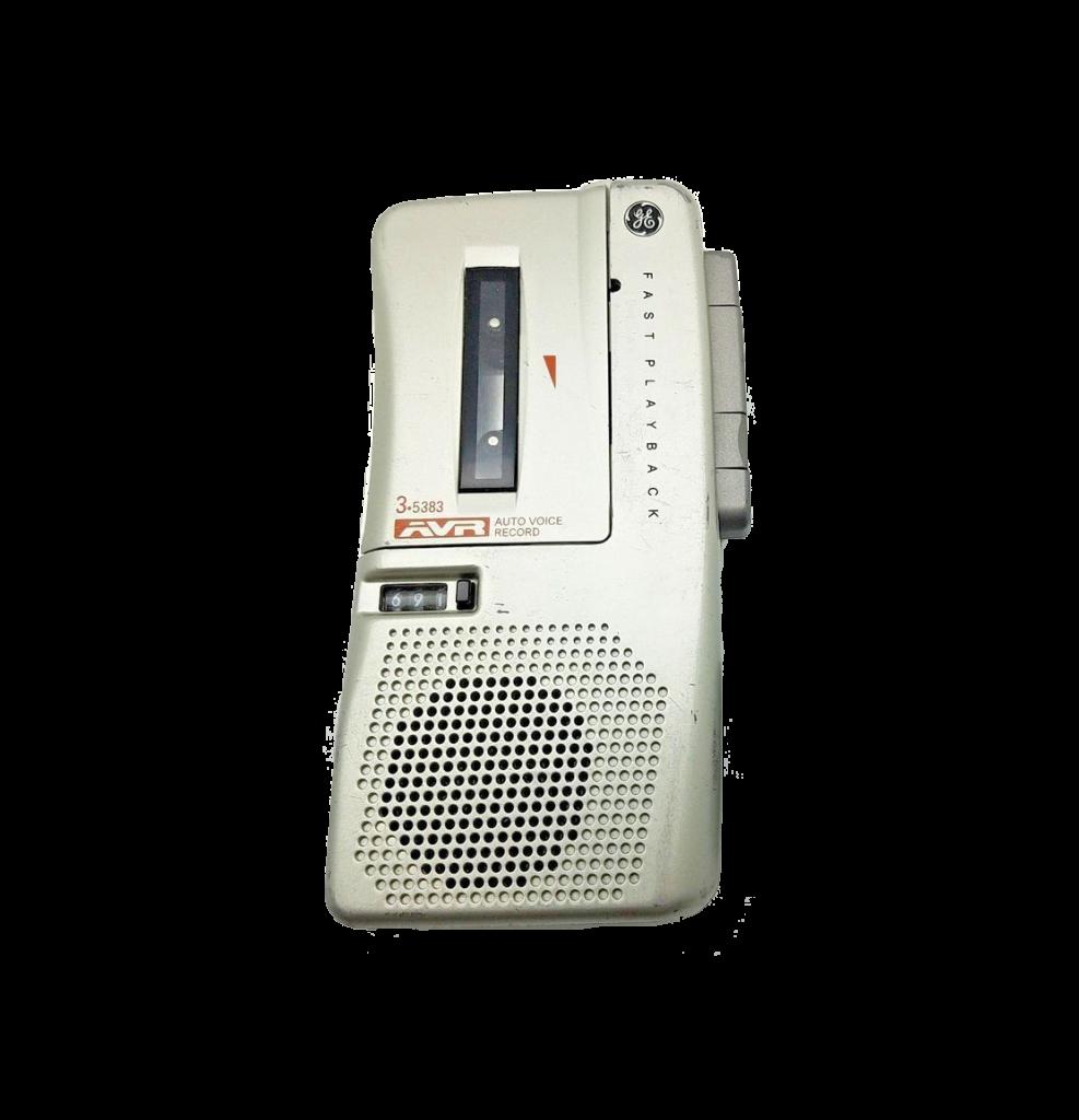 Old-looking mini-cassette audio recorder