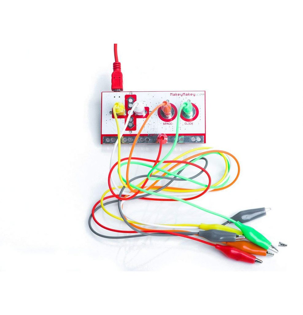 Colourful cords and wires that comprise Makey Makey equipment