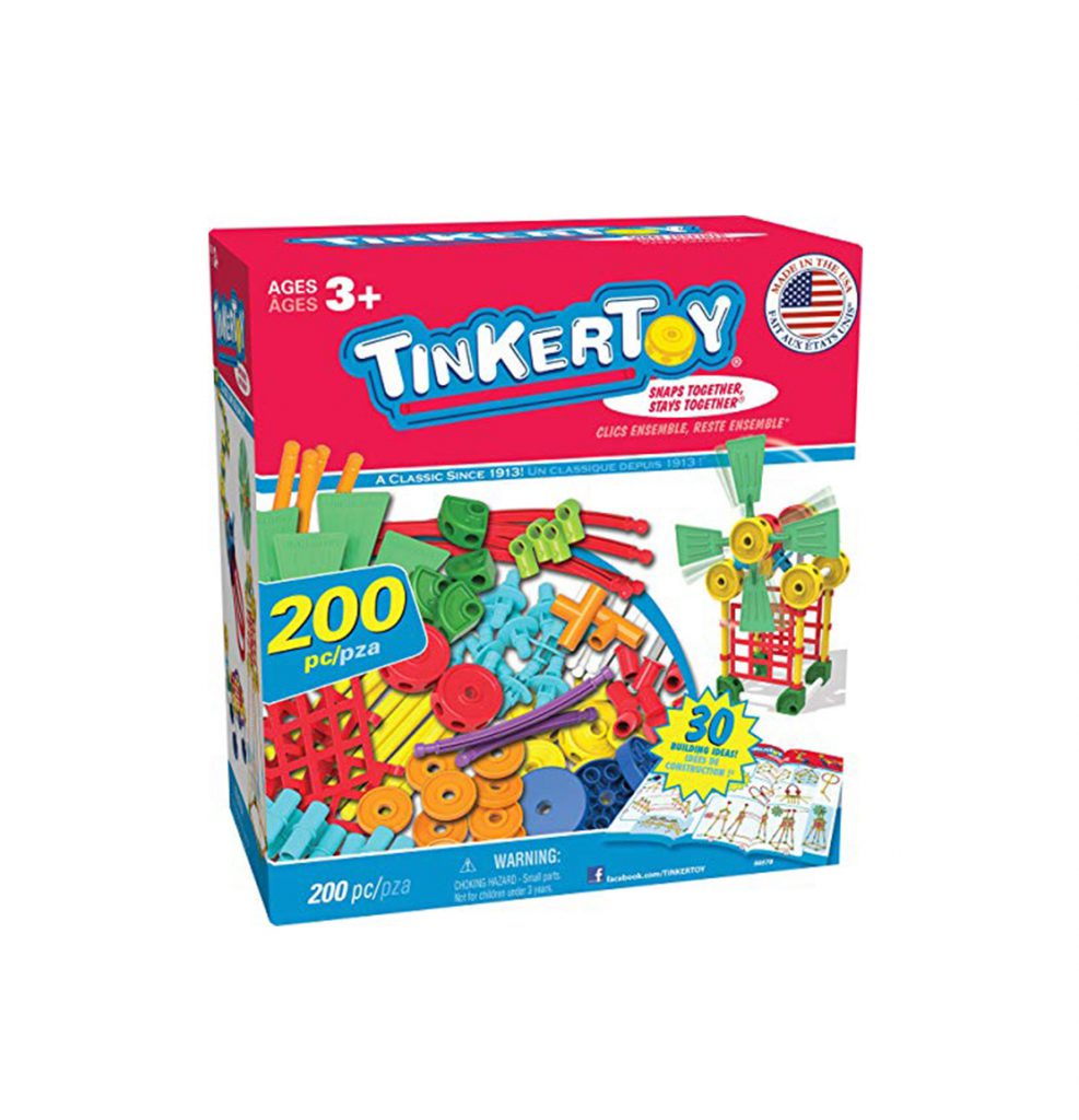 Multi-colour Tinker Toy box stating there are 200 pieces inside box