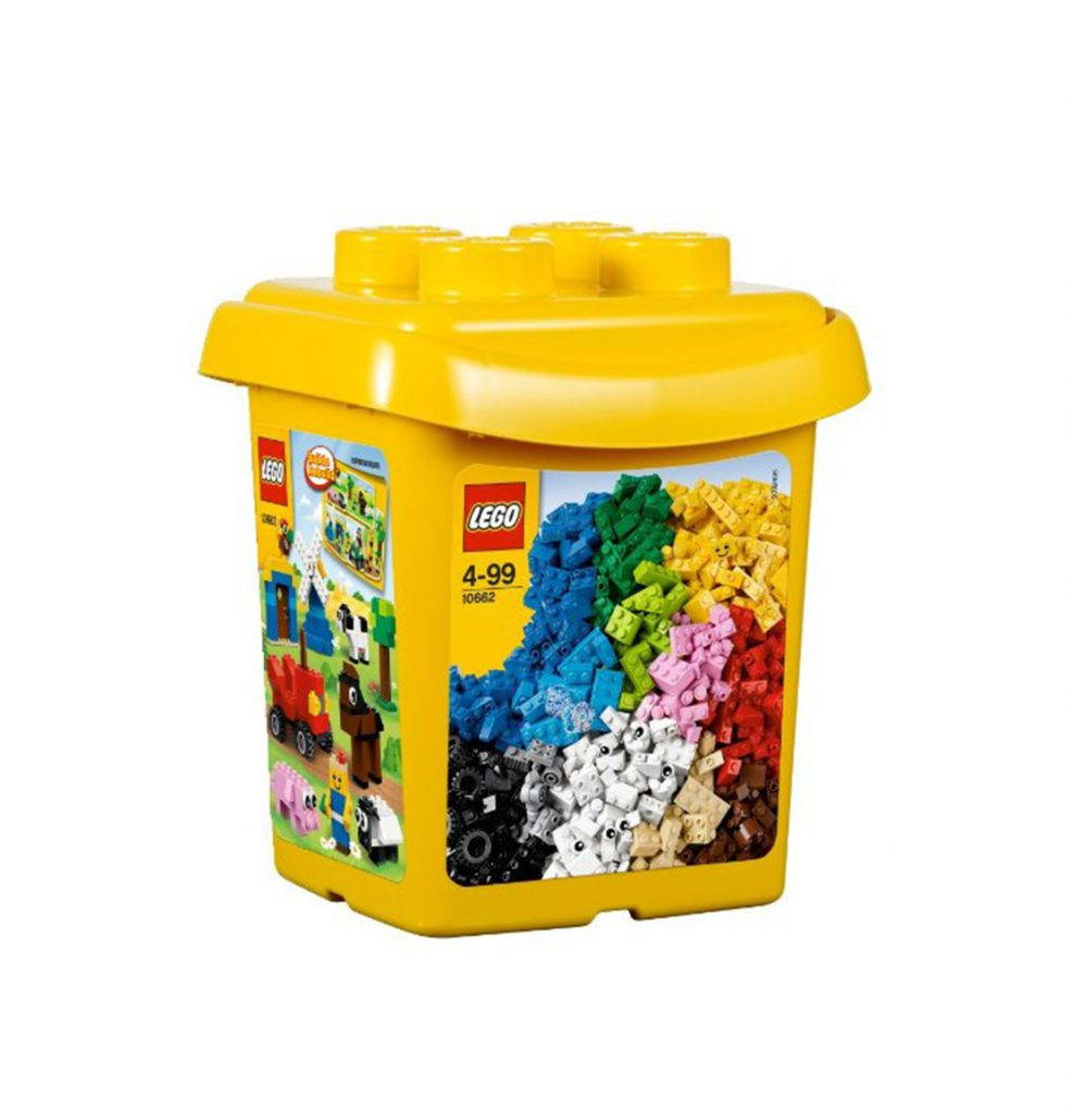Yellow plastic box with Lego Label on it
