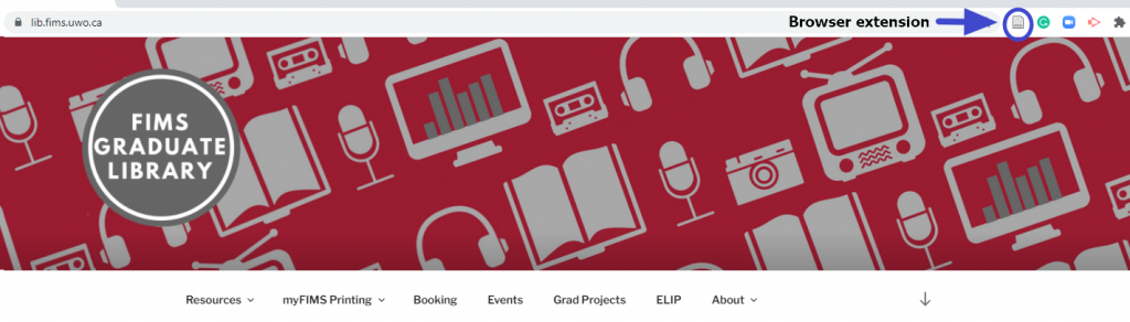 Figure 1 Image of the Zotero browser extension on the FIMS Graduate Library's Website.