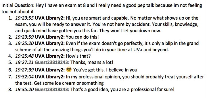 Chat conversation with patron asking for exam pep talk